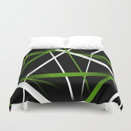 Seamless Grass Green and White Stripes on A Black Background Duvet Cover