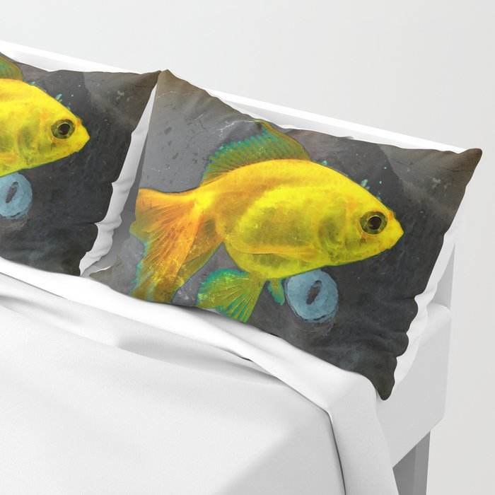 Wishful Thinking - Cat and Fish Art By Sharon Cummings Pillow Sham