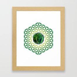 Garden Guardian Gnome in Spring Greens Framed Art Print