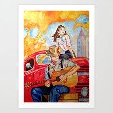 Vintage, music, retro. Art Print