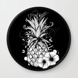 Pineapple with hibiscus blossom Wall Clock