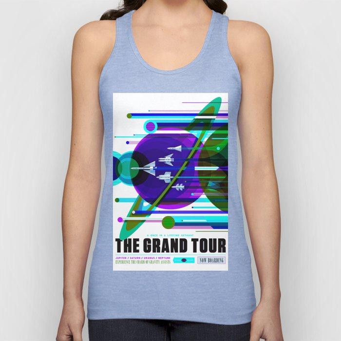 NASA Space Saturn Shuttle Retro Futuristic Explorer Blue Unisex Tank Top