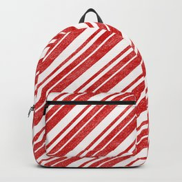 Velvety Red Candy Cane Diagonal Christmas Stripe Backpack