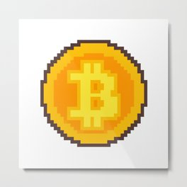 Pixel art Bitcoin coin Metal Print