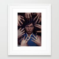 the legend of korra Framed Art Prints featuring Korra by Meder Taab