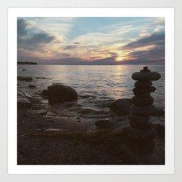 Stacked Stones at Niagara River Art Print