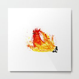 Fire watercolor rooster Metal Print