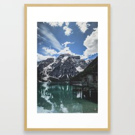 A magnificent morning at an Italian lake in the Dolomites. Framed Art Print