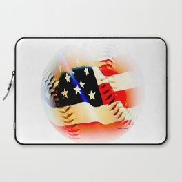 Baseball And Americn Flag Painting By Annie Zeno  Laptop Sleeve