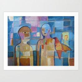 Couple with Bird (communication) Art Print