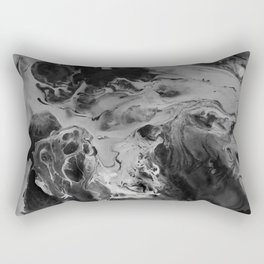 Black and Gray Moon Crater Abstract Fluid Painting Rectangular Pillow