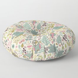 Pink and green drawing with owls and birds. Floor Pillow