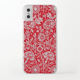 "William Morris Floral Pattern | ""Pink and Rose"" in Red and White Clear iPhone Case"