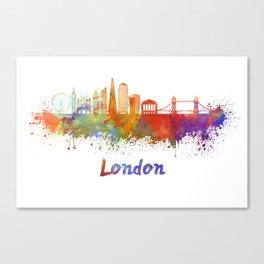 London V2 skyline in watercolor Canvas Print