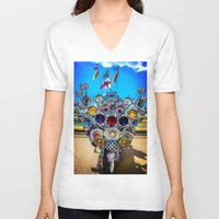 mod V-neck T-shirts featuring Mod Scooter by Chris Lord