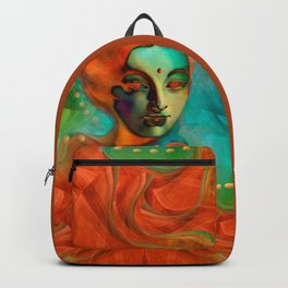 """""""Exotic woman in green and orange tropical jungle"""" Backpack"""