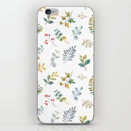 Elegant pink teal lilac yellow watercolor floral leaves iPhone Skin