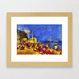 Istanbul At Night Van Gogh Framed Art Print