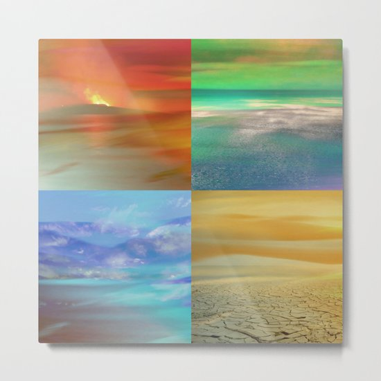 The Four Elements: Fire, Water, Air, Earth Metal Print