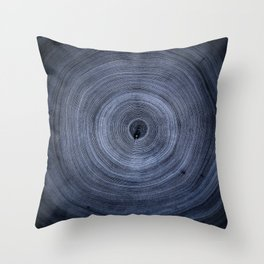 Dark Blue Tree Ring Negative Pattern Throw Pillow