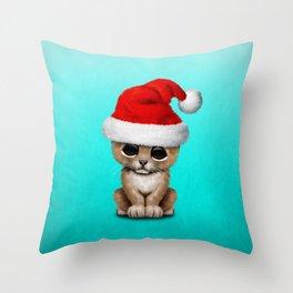 Christmas Lion Wearing a Santa Hat Throw Pillow