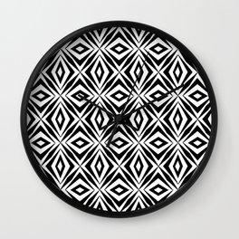 black and white symetric pattern 2- bw, mandala,geometric,rosace,harmony,star,symmetry Wall Clock