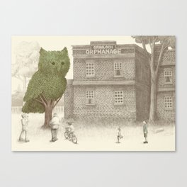 The Night Gardener - Owl Topiary  Canvas Print