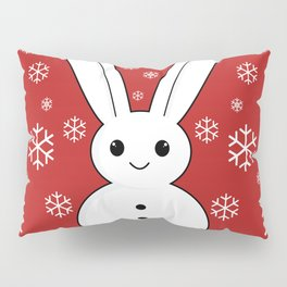 Snow bunny and snowflakes red Pillow Sham