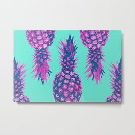 Modern colorful Pineapple pink blue turquoise background Metal Print