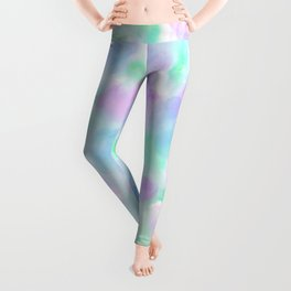 Abstract Purple Floral Watercolor Pattern Leggings