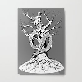 Dragon and the Tree Metal Print