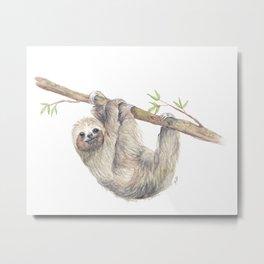Hanging Sloth Painting Metal Print