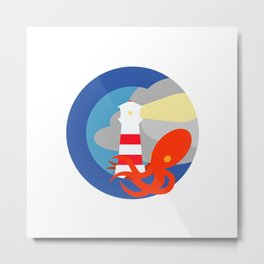Lighthouse attacked by giant squid Metal Print