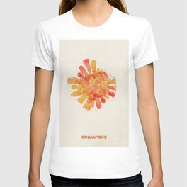 Singapore Colorful Skyround / Skyline Watercolor Painting T-shirt
