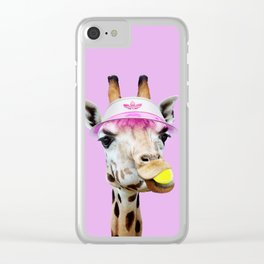 TENNIS GIRAFFE Clear iPhone Case