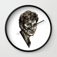 david tennant Wall Clocks featuring David Tennant - Doctor Who - Allons-y (Drawing) by ieIndigoEast