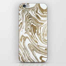 Stylish white faux gold foil elegant marble iPhone Skin