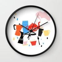 calendar Wall Clocks featuring Calendar 2014 by Anne