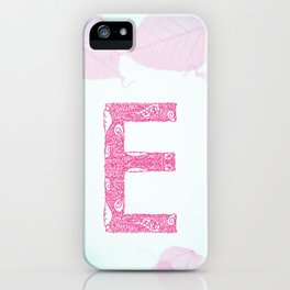 Floral Letter 'E' iPhone Case