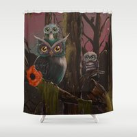 forrest Shower Curtains featuring Owl Forrest by Annelies202