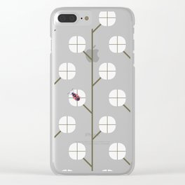 Cotton Plants with Cotton Bug ~ coral red Clear iPhone Case