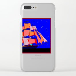 A Clipper Ship at Sea Full Sail at Night under the Stars Clear iPhone Case