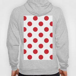 Large Polka Dots - Fire Engine Red on White Hoody
