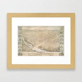 Vintage Map of Denver Colorado (1874) Framed Art Print