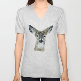 Doe Eyes by Teresa Thompson Unisex V-Neck