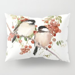 Chickadee Bird Vintage Bird Artwork, two birds, chickadees woodland design Pillow Sham