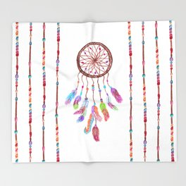 Hand Painted Watercolor Dreamcatcher Beads Feather Throw Blanket