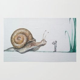 snail and little boy Rug