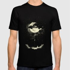 MOON CLIMBING Black Mens Fitted Tee MEDIUM