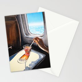 Glass in Airplane | Retro Mid Century | Mad Men Painting Stationery Cards